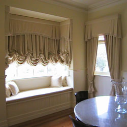 Living room with custom-made drapes in Brunswick